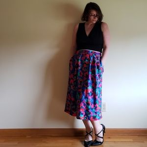 """80's Bright Floral Skirt - 34"""""""